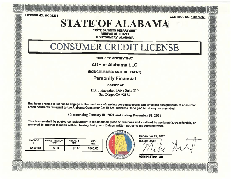 Alabama License