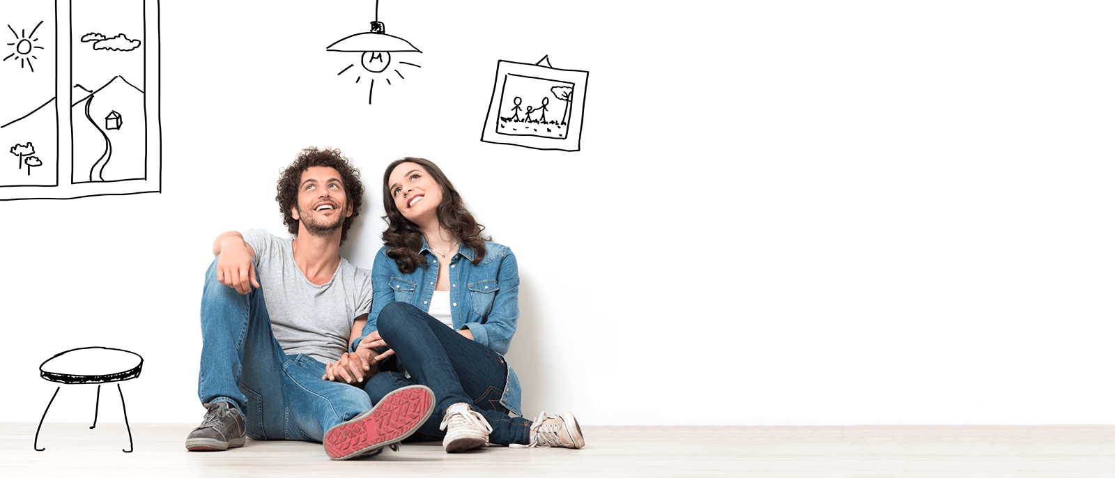 Young couple looking for a personal loan to cover moving expenses